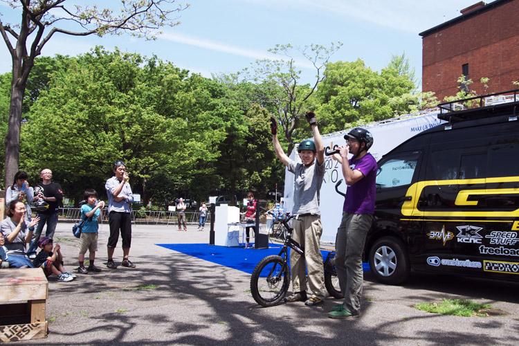 トライアルショーをした飯塚隆太選手