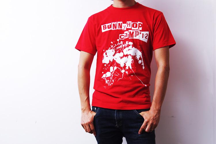 BUNNY HOP CAMP Tシャツ RED Sサイズ 前
