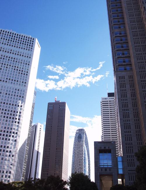 朝の新宿都庁前