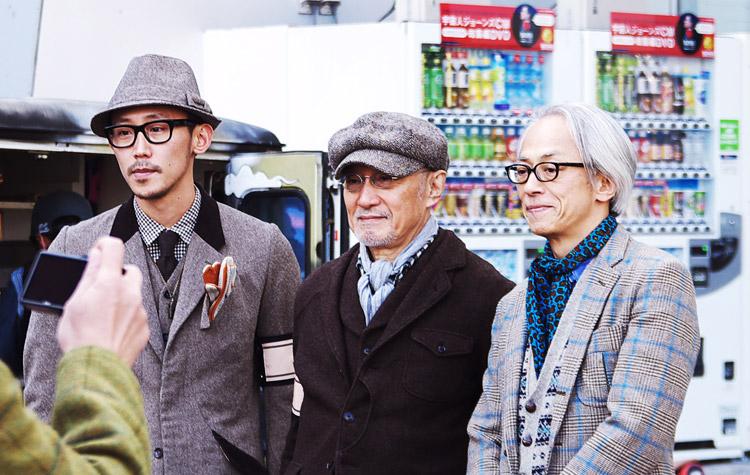TAKEO KIKUCHI本人(中央)とUnited Arrowsの創業者 栗野 宏文氏(右)