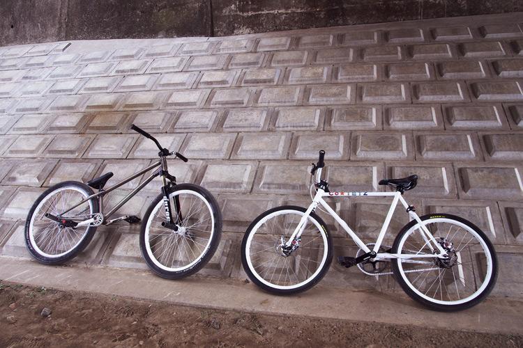 自分のMOZUバイクと奥さんの小鉄バイク