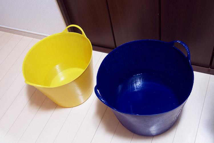 洗い用のお湯とゆすぎ用の水