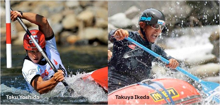 カヌー日本代表選手の吉田拓選手とラフティングチームテイケイの池田拓也選手