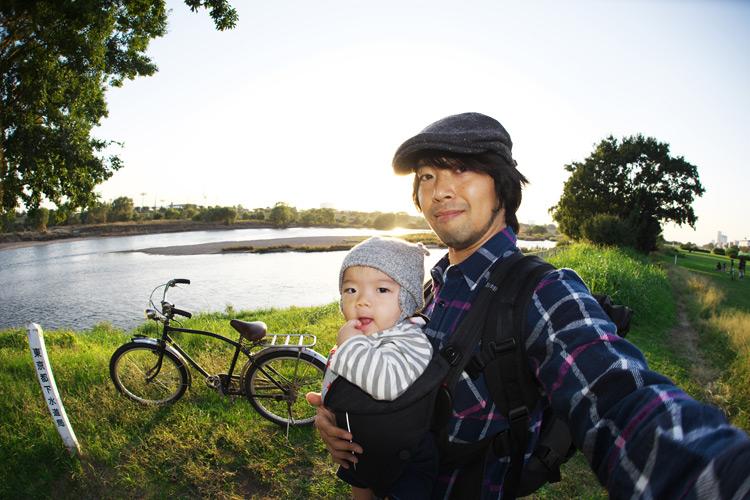 サモと叶大とブリヂストンの実用車で多摩川河原サイクリング