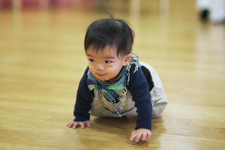 羽田空港の保育園アンジュのクリスマス会で高速ハイハイする叶大