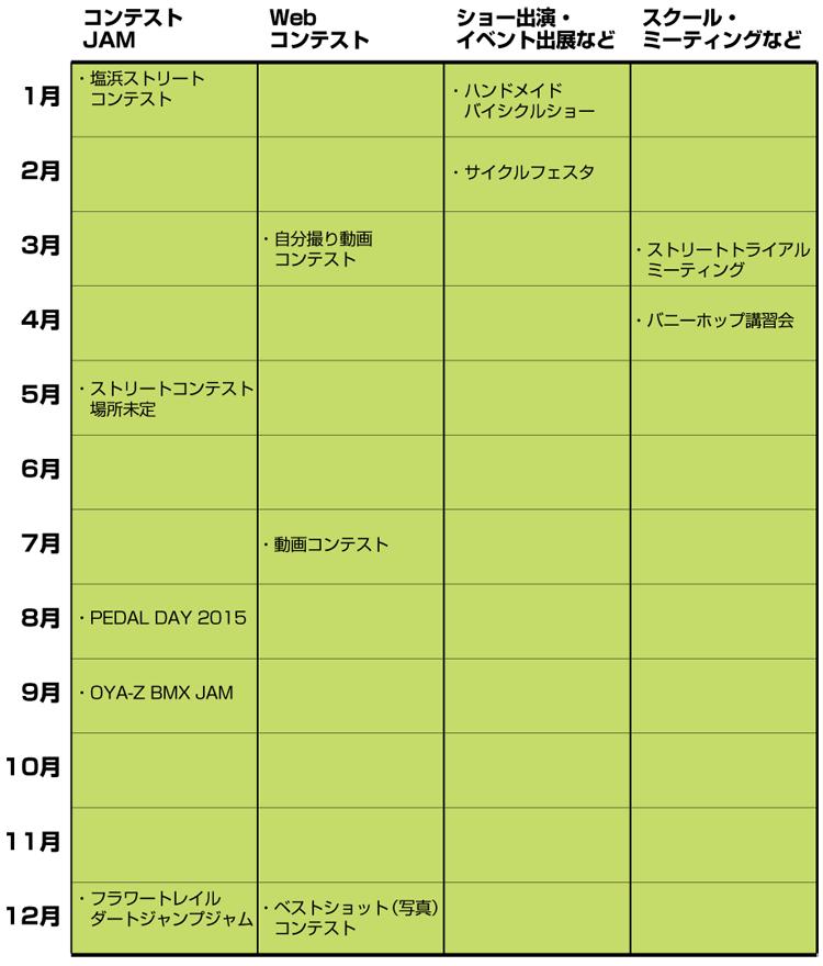 2015TUBAGRAイベントカレンダー