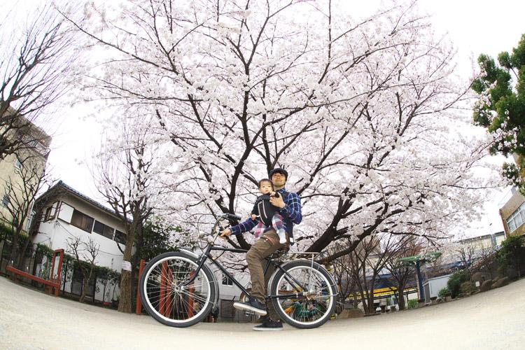 MTB マウンテンバイク 多摩川河原サイクリングロード 桜 花見