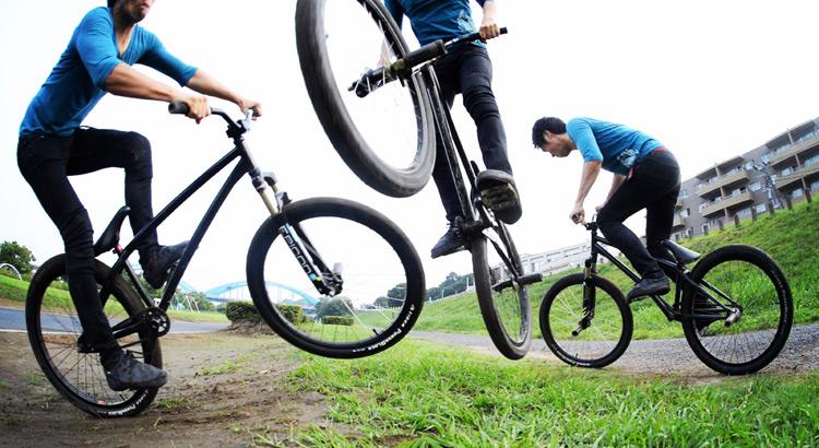 MTB マウンテンバイク SHAKA 多摩川河原サイクリングロード バンクバニーホップロックウォーク