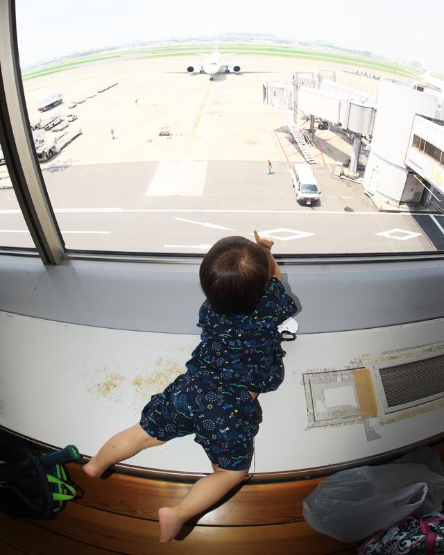 昔通っていた羽田空港にある保育園アンジュの夏祭りにお邪魔して飛行機を見てテンションを上げる叶大