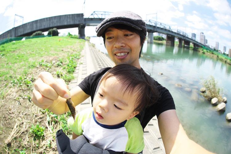 息子と一緒にヌマチチブを釣りました