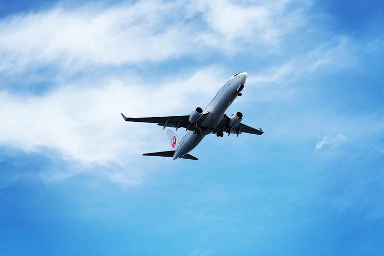 羽田空港への着陸で城南島海浜公園の上空を通る旅客機