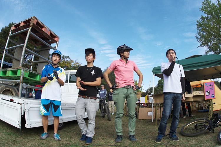 秋ヶ瀬のバイクロア5 TUBAGRA MTB&トライアルショーでのショーの終わりの挨拶