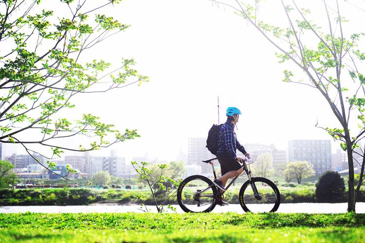 多摩川河原ダートコース サイクリングコース 朝活BIKE&FISH croMOZU275