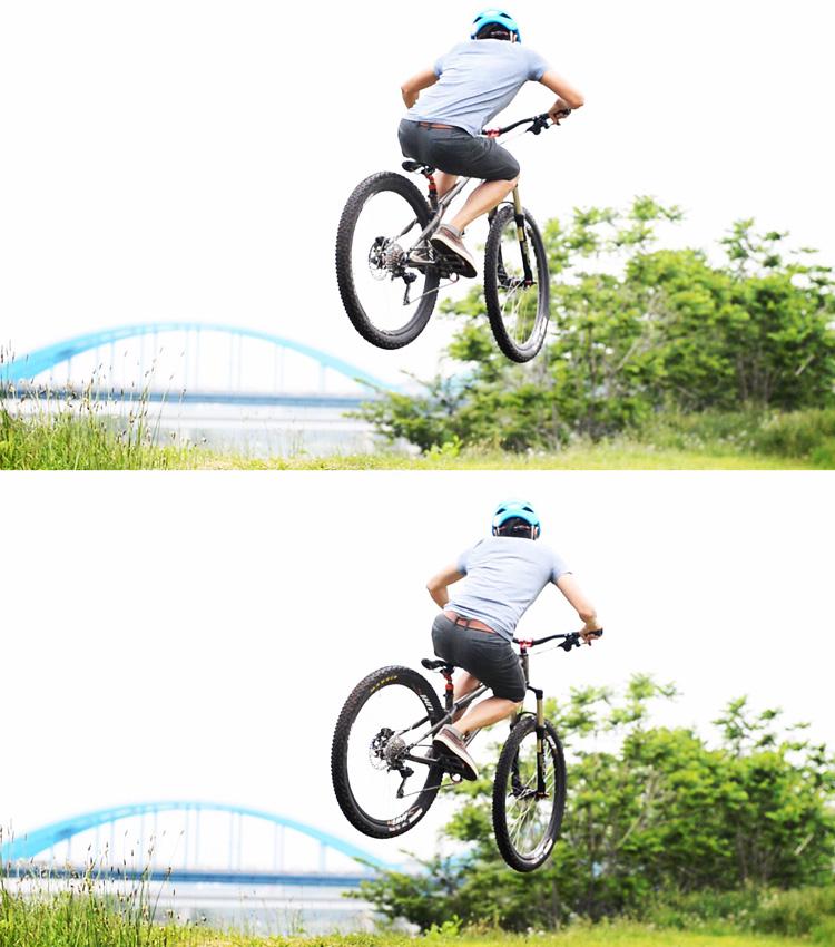 croMOZU275 2nd TEST多摩川河原サイクリングコースバンク斜め刺しバニーホップ