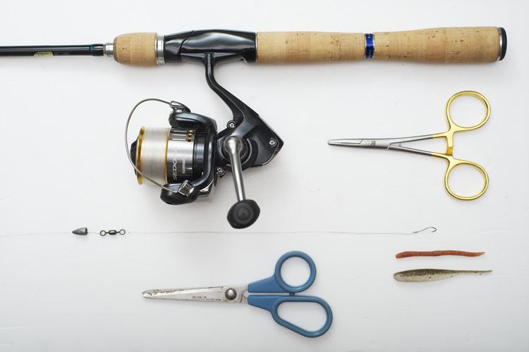 朝活BIKE&FISH用の釣具SHIMANO製のロッドとリール
