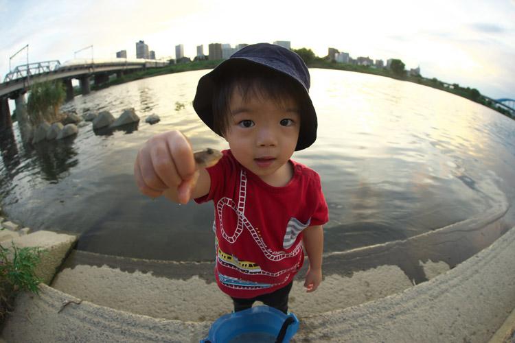 多摩川でハゼで遊ぶ叶大
