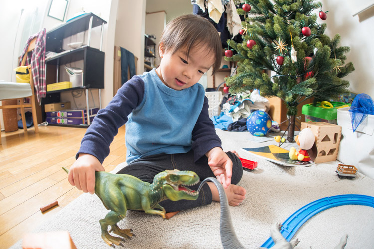 クリスマスプレゼントのティラノサウルスで遊ぶ叶大