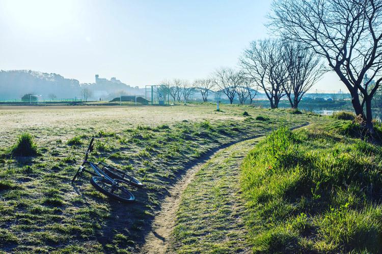 爽やかな朝の多摩川河原ダートコース
