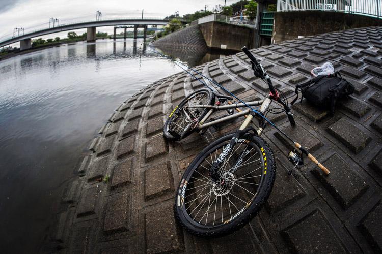 雨の中 朝活BIKE&FISH 多摩川丸子橋で