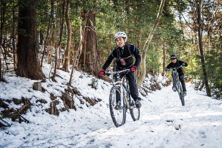 雪のトレイルライド マキシマさんとtksgさん