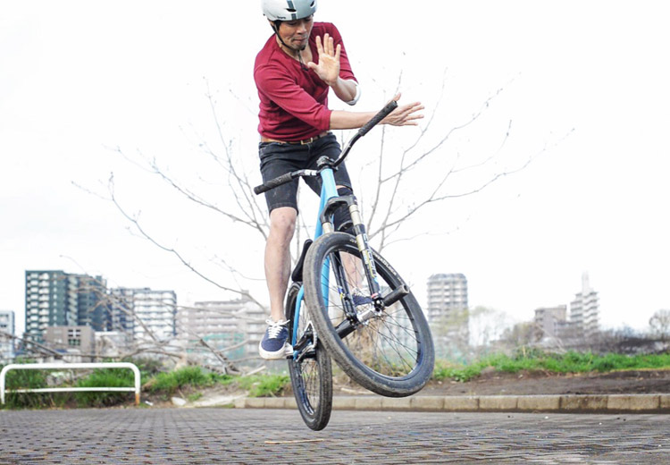 多摩川河原 SHAKA24 バニーホップバースピン練習