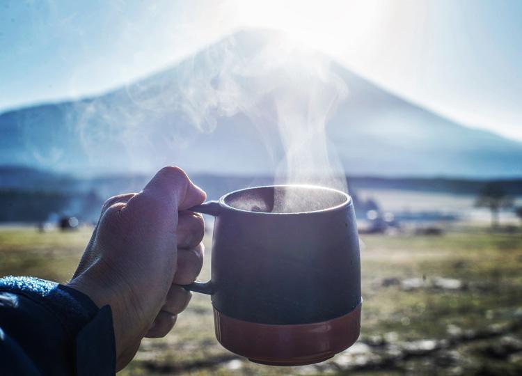麓キャンプ場(ふもとっぱら)でオートキャンプ 朝の富士山 コーンスープ