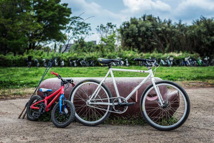 奥さんの24インチホイールファニーバイク Co-TETZ(小鉄)とヨツバサイクル yotsuba14で叶大と多摩川BIKE&FISH