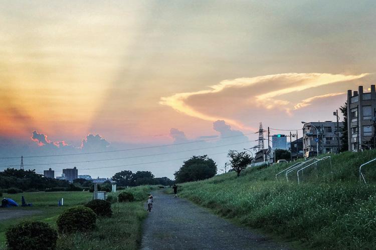 多摩川河原 叶大とサイクリング