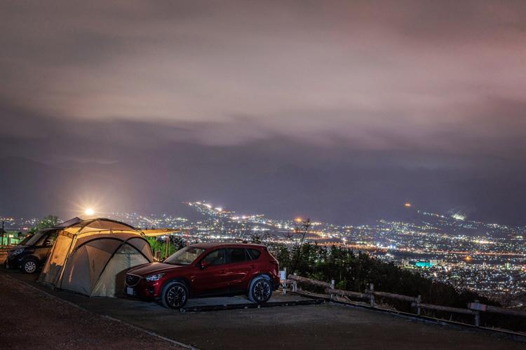 ほったらかしキャンプ場 甲府盆地の夜景