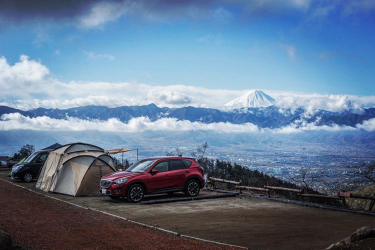 ほったらかしキャンプ場 甲府盆地と富士山