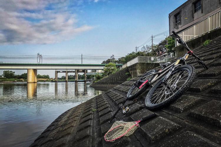 多摩川河原 BIKE&FISH 丸子橋 丸子堰