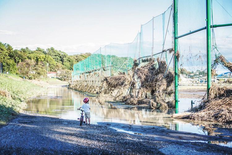 多摩川河原 台風19号 叶大 ヨツバサイクル