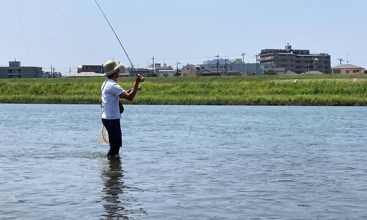 多摩川河原 フライフィッシング