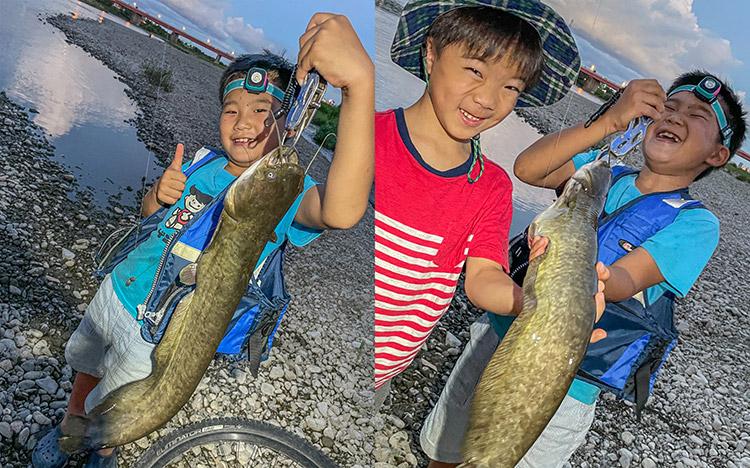 多摩川 BIKE&FISH ナマズ釣り カイト君 叶大